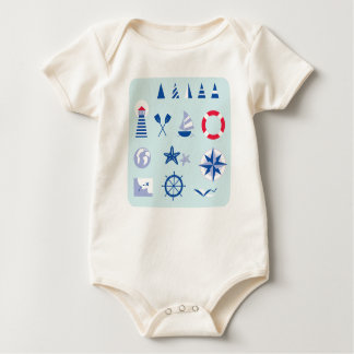 Organic bio baby body with Mare icons Baby Bodysuit