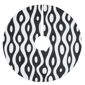 Organic black and white brushed polyester tree skirt