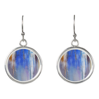Organic Blue and White Abstract Drop Earrings
