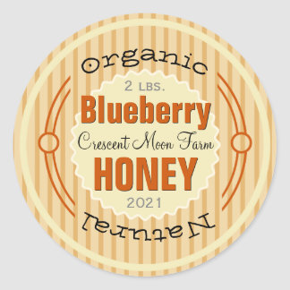 Organic Blueberry Personalised Honey Jar Classic Round Sticker