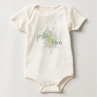 Organic Christian baby vest - Praise Him Baby Bodysuit