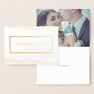 Organic dots foil thank you folded note card