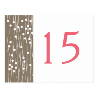 Organic Dots & Lines  Wedding Table Number Cards Postcard