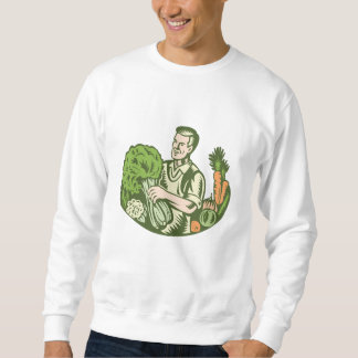 Organic Farmer Green Grocer With Vegetables Retro Sweatshirt