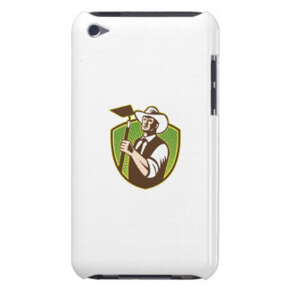 Organic Farmer Holding Grab Hoe Shield iPod Touch Cases