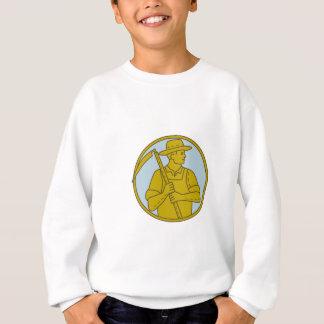 Organic Farmer Scythe Looking Side Circle Mono Lin Sweatshirt