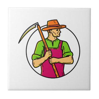 Organic Farmer Scythe Mono Line Art Ceramic Tile