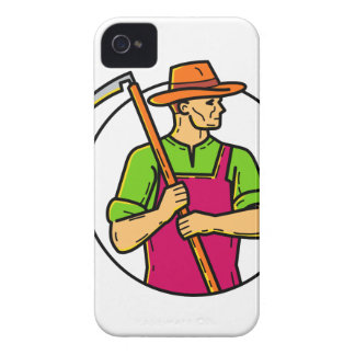 Organic Farmer Scythe Mono Line Art iPhone 4 Case-Mate Case
