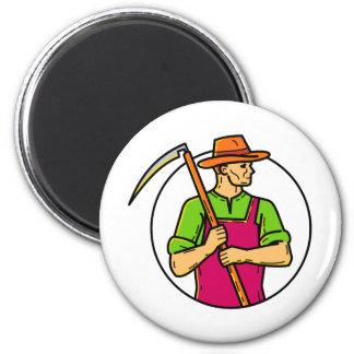 Organic Farmer Scythe Mono Line Art Magnet