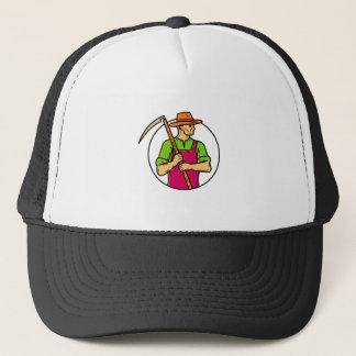 Organic Farmer Scythe Mono Line Art Trucker Hat