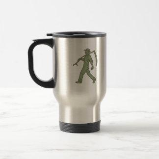 Organic Farmer Scythe Walking Mono Line Travel Mug