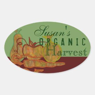 Organic garden oval sticker