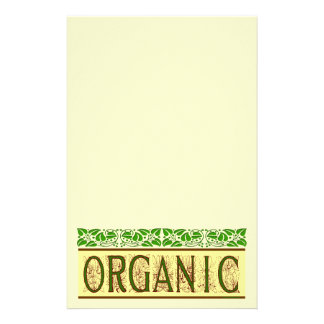 Organic Green Saying with Vintage Leaf Border Stat Stationery