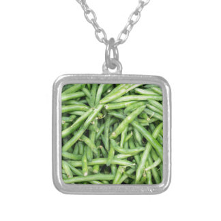 Organic Green Snap Beans Veggie Vegitarian Silver Plated Necklace