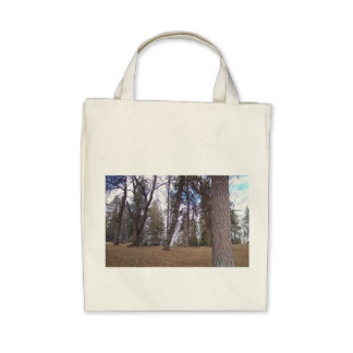 Organic grocery tote featuring urban forest scene. bag