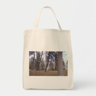 Organic grocery tote featuring urban forest scene. grocery tote bag