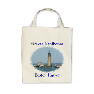 Organic Grocery Tote Graves Light Boston Harbor Canvas Bags