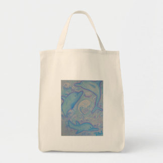 Organic Grocery Tote -Happy Dolphins Canvas Bags