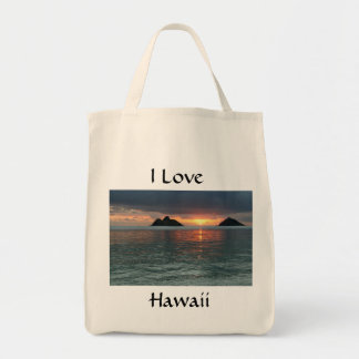 Organic Grocery Tote  Love Hawaii Hawaiian Sunrise Grocery Tote Bag