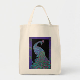 Organic Grocery Tote -Proud Peacock