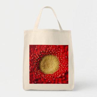 Organic Grocery Tote  -  Red Gerbera Canvas Bag