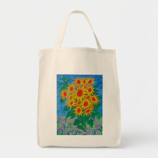 Organic Grocery Tote -sunflowers in the garden