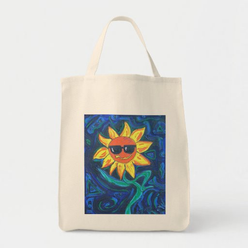 Organic Grocery Tote -Sunny The Sunflower Bags