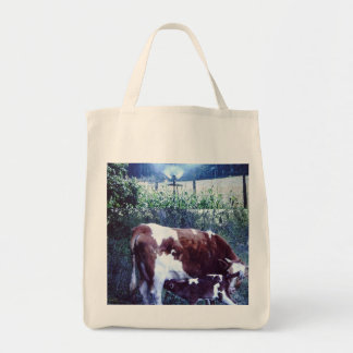 Organic grocery tote with small farm scene. canvas bags