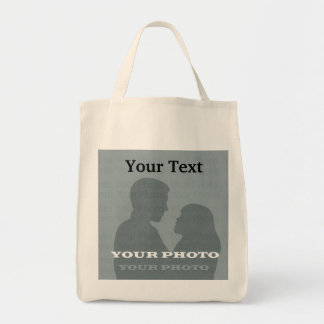 Organic Grocery Tote Your Photo & Text Template Grocery Tote Bag