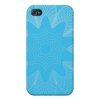 Organic Guilloche Flower blues Covers For iPhone 4
