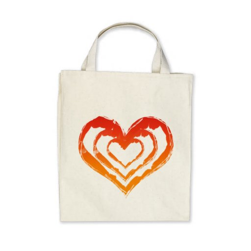 Organic Heart Fire Grocery Tote Tote Bag