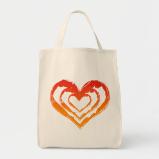 Organic Heart Fire Grocery Tote Grocery Tote Bag