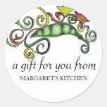 organic hippie peas vegan vegetarian gift tag s... round stickers