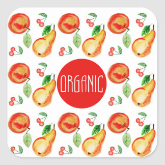 """""""Organic"""" label with fruit frame Square Sticker"""