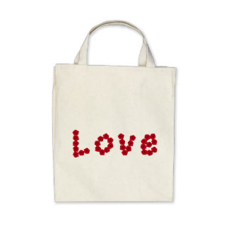 Organic Love Red Roses Canvas Grocery Tote Bag