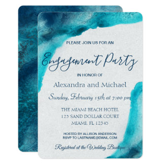 Organic Ocean Blue Watercolor Engagement Party Card