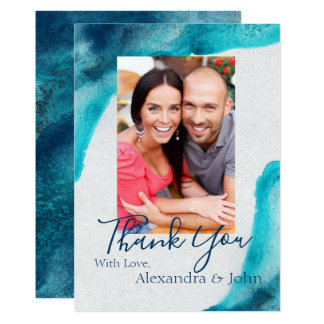 Organic Ocean Blue Watercolor Thank You Card