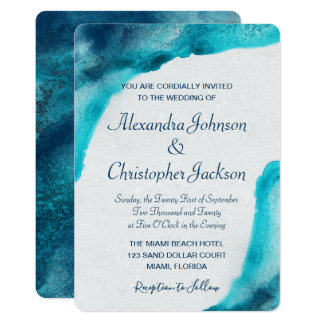 Organic Ocean Blue Watercolor Wedding Invitation
