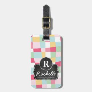 Organic Pastel Mod Girly Chalkboard Monogram Luggage Tag
