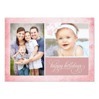 Organic Pink Grunge 2 Photo Holiday Card