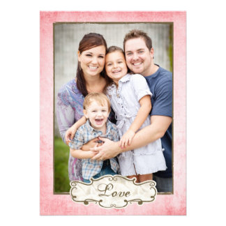 Organic Pink Grunge Double Sided Photo Holiday Announcements