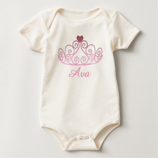 Organic Pink Princess Baby Tee, Add Baby's Name Baby Bodysuit