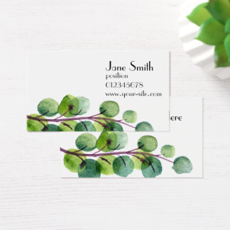 Organic themed with watercolor green leaves business card
