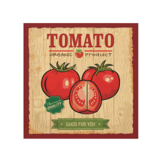 "Organic Tomato 8""x8"" Wood Wall Art"
