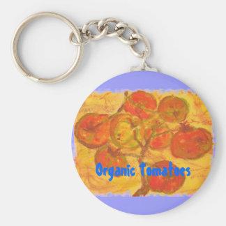 Organic Tomatoes Basic Round Button Key Ring
