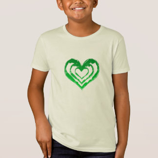 Organic Triple Hearts Green Tee Shirts