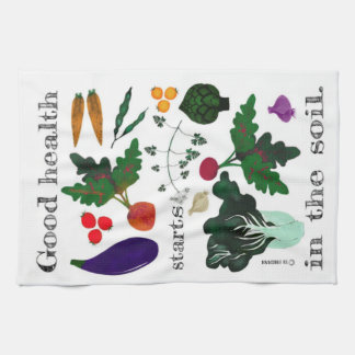 Organic vegetables tea towel