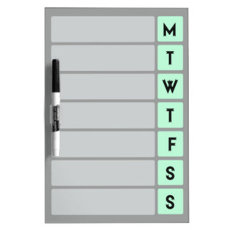 Organize Your Week - Mint and Grey Dry Erase Board