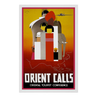 """Orient Calls"" Vintage Travel Poster"