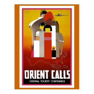 """Orient Calls"" Vintage Travel Poster Postcard"